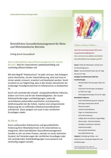 Broschüre BGM in KMU UnternehmerHaus Ennepe Ruhr
