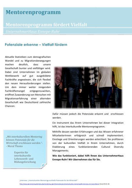 Broschüre Mentorenprogramm UnternehmerHaus Ennepe Ruhr